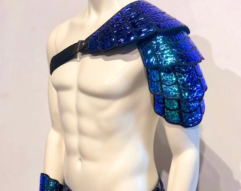 Holographic Shell Armor   Poseidon Armor   Mermaid Cosplay   Pauldron   Rave Outfit   Carnival Costume   EDC Outfit   Halloween Costume