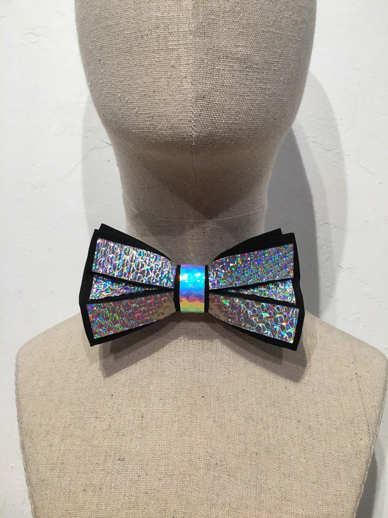 Holographic Chrome Bow Tie  EDC Wedding  Rave Wedding  EDM image 0