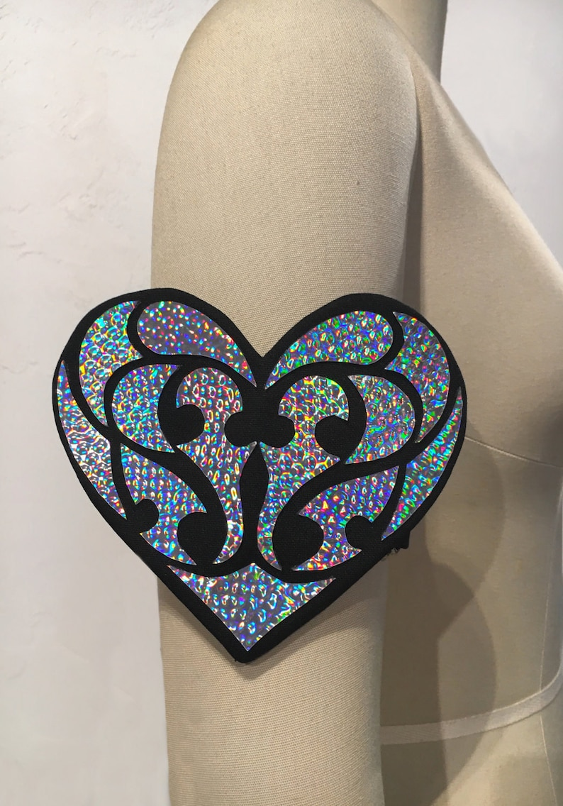 Holographic Heart Cuff  Rave Jewelry  Rave Accessories  image 0