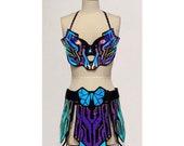 Holographic Electra Costume (Black Twilight/Opal) | Rave Outfit | Cyberpunk Costume | Tron | Cyborg | Circuitry | Futuristic | Festival
