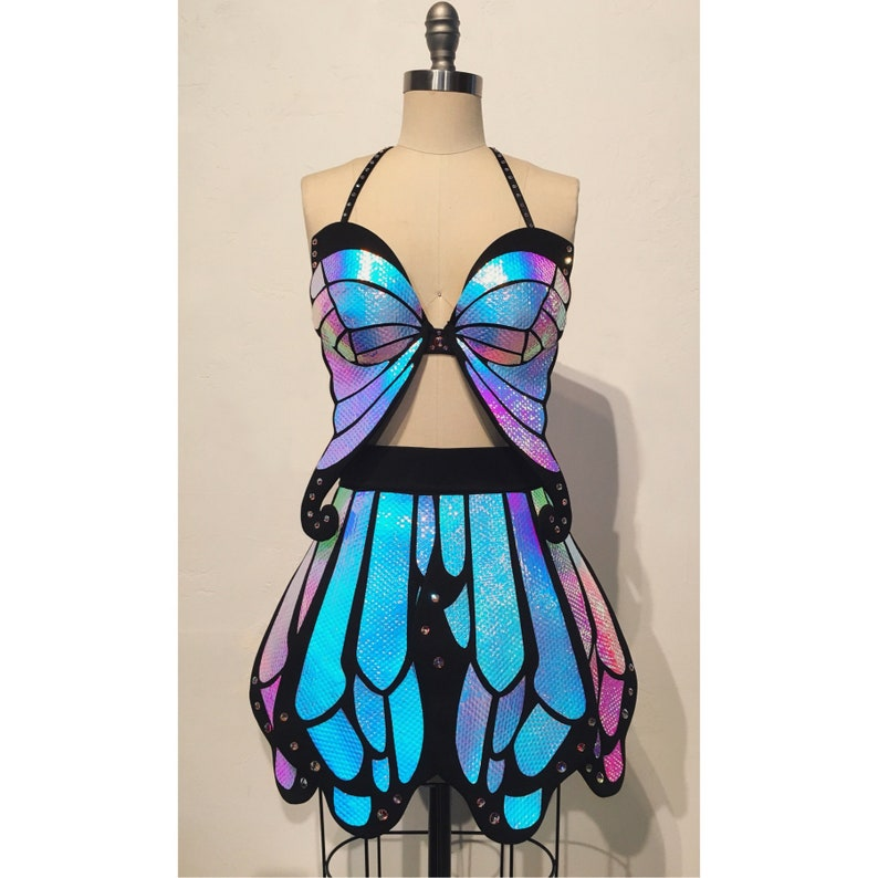 Holographic Butterfly Outfit Full Coverage Black Opal  Rave image 0
