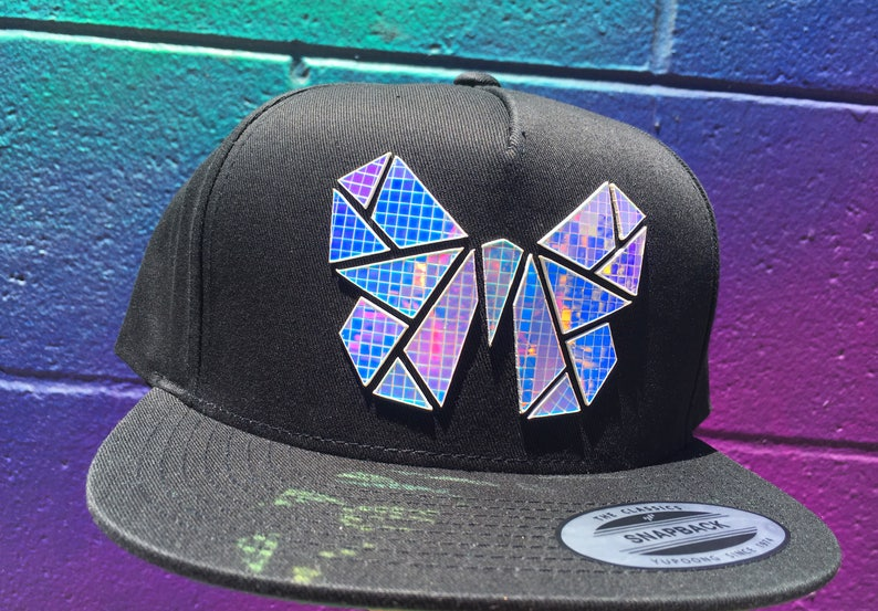 Chrome Monarchy Snapback  Butterfly Hat  Holographic  EDC  image 0
