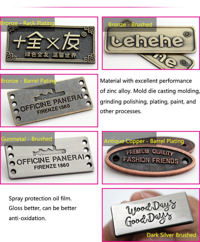 Round Snap Buttons Gunmetal Personalized Sign Bronze Metal Custom Vintage\u00a0Label \u2013 Made to Order