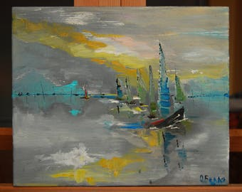 Yachts original oil painting on canvas palette knife ready to hang