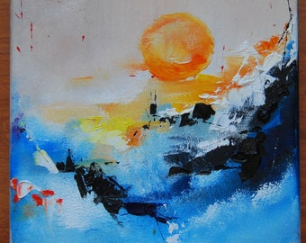 Sun Original oil painting on canvas palette knife shipping with an easel