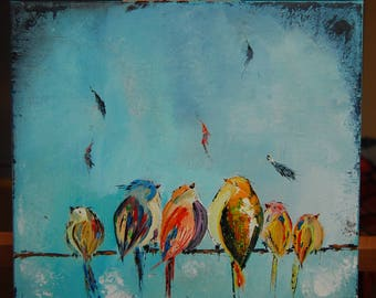 Colorfull birds original oil painting on canvas palette knife ready to hang