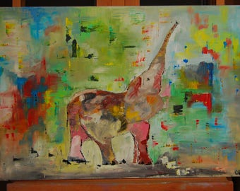 Elefant original oil painting on canvas palette knife ready to hang