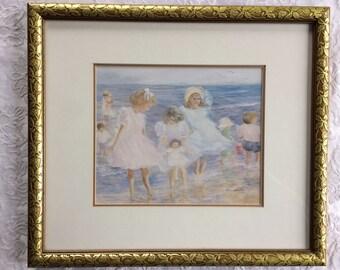 On Vacation at Last Print by Helene Leveillee/ Children Beach Art