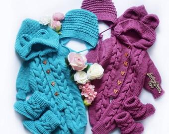 Homeriy Baby Baby Strickpullover Jumpsuit Baby Jumpsuit Kleinkind Einteilige Gestrickte Wolle Fleece Kapuze Body im Herbst Winter Warme Kleidung f/ür 3-24 Monate Baby