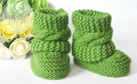 Bottes de bébé, tricot chaussons pour bébés, bébé garçon ou fille chaussons, chaussons tricotés à la main