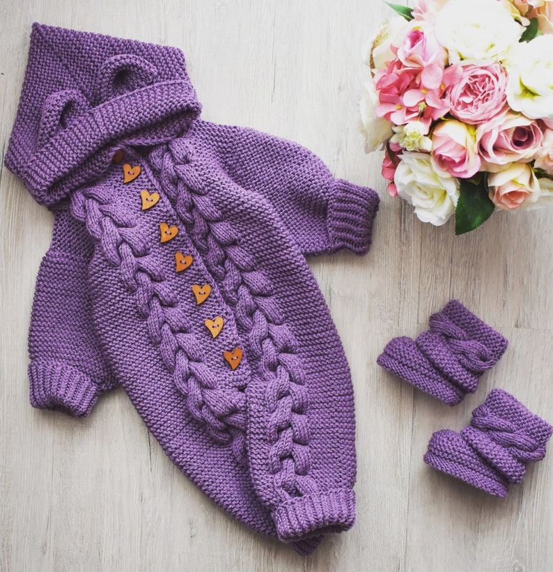 2 PDF Patterns Baby Romper Hand Knitting Knitted Jumpsuit and Booties Baby Overall