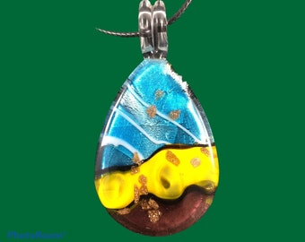 Handmade blown glass pear shaped pendant necklace with the combination of aqua, gold and brown colors