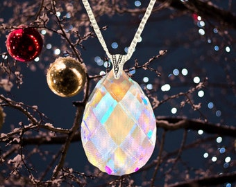 Austrian crystal pear shaped pendant necklace in aurora borealis