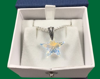 Austrian crystal star pendant necklace in aurora borealis