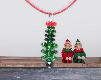 Austrian crystal handmade christmas tree necklace