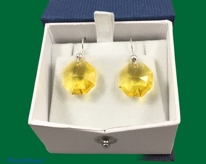 Featured listing image: Austrian crystal octagon earrings in gold & yellow