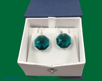 Austrian crystal octagon earrings in green & light green