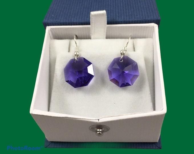 Featured listing image: Austrian crystal octagon earrings in blue, purple, light purple, light blue & aqua