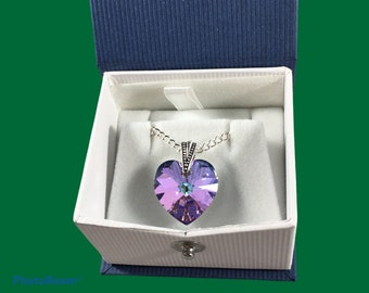 Austrian crystal heart pendant necklaces in yellow, rainbow, blue, purple & green colors