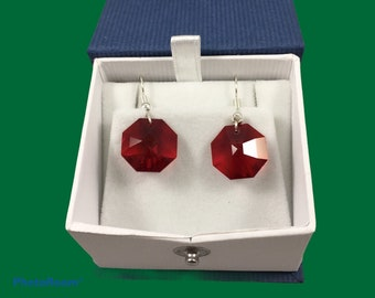 Austrian crystal octagon earrings in red, wine, pink & clear