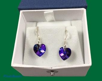 Austrian crystal heart earrings in multiple colors