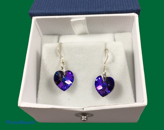 Featured listing image: Austrian crystal heart earrings in multiple colors