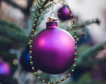 Handmade Christmas glass & crystal necklace