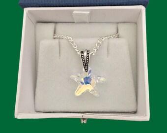 Austrian crystal starfish pendant necklace in aurora borealis