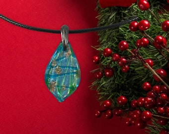 Handmade blown glass pear shaped pendant necklace with hints of aqua, green, brown & white colors