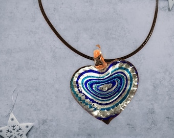 Handmade blown glass heart pendant necklace with blue, silver and black swirls
