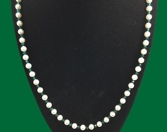 Austrian crystal white pearl & turquoise color necklace