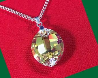 Austrian aurora borealis crystal leaf pendant necklace