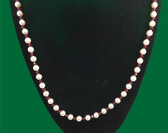 Austrian crystal white pearl & ruby color necklace