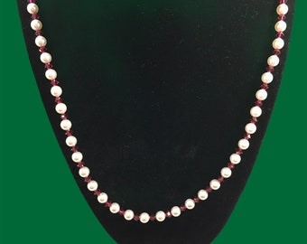 Austrian crystal white pearl & rose color necklace