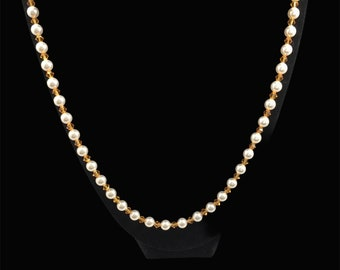 Austrian crystal white pearl & topaz color necklace