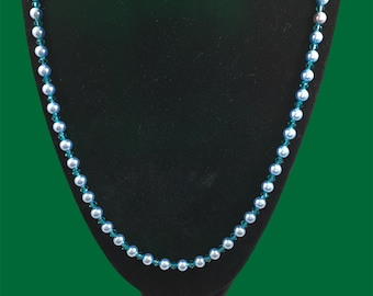 Austrian crystal light blue pearl & turquoise color necklace