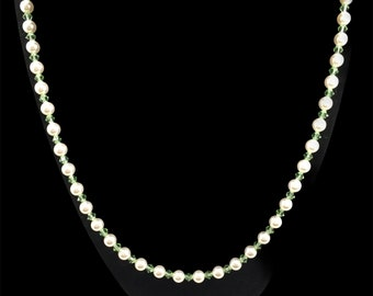 Austrian crystal white pearl & peridot color necklace