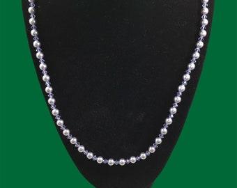 Austrian crystal lavender pearl & tanzanite color necklace