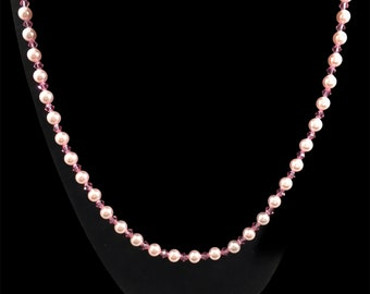 Austrian crystal rose pearl & rose color necklace