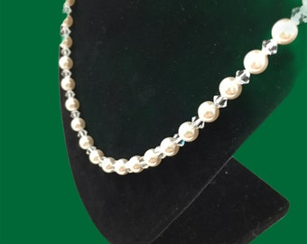 Austrian crystal white pearl & crystal color necklace