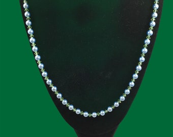 Austrian crystal light blue pearl & peridot color necklace