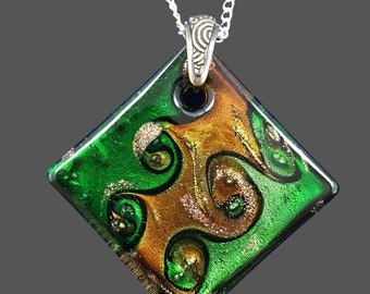 Diamond Shaped Glass Pendant Necklace