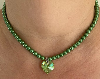 Glass Pearl Necklace With a Crystal Four Leaf Clover Pendant