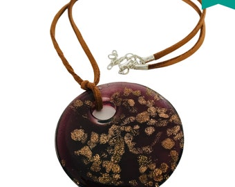 Focal Glass Round  Pendant Necklace