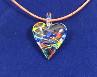 Glass Heart Multi Color Pendant Necklace