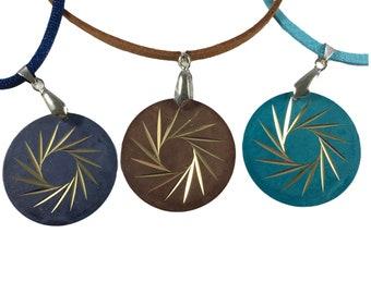 Brass Diamond Cut Pendant Necklace