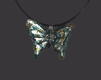 Blown Glass Butterfly Pendant Necklace