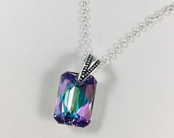 Cut Drop Crystal Vitrail Light Pendant Necklace