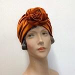 Flower turban, red/ black/ green/ purple/ yellow /ochre / leopard jersey/ velvet, fullcover turban, pre-tied headwrap