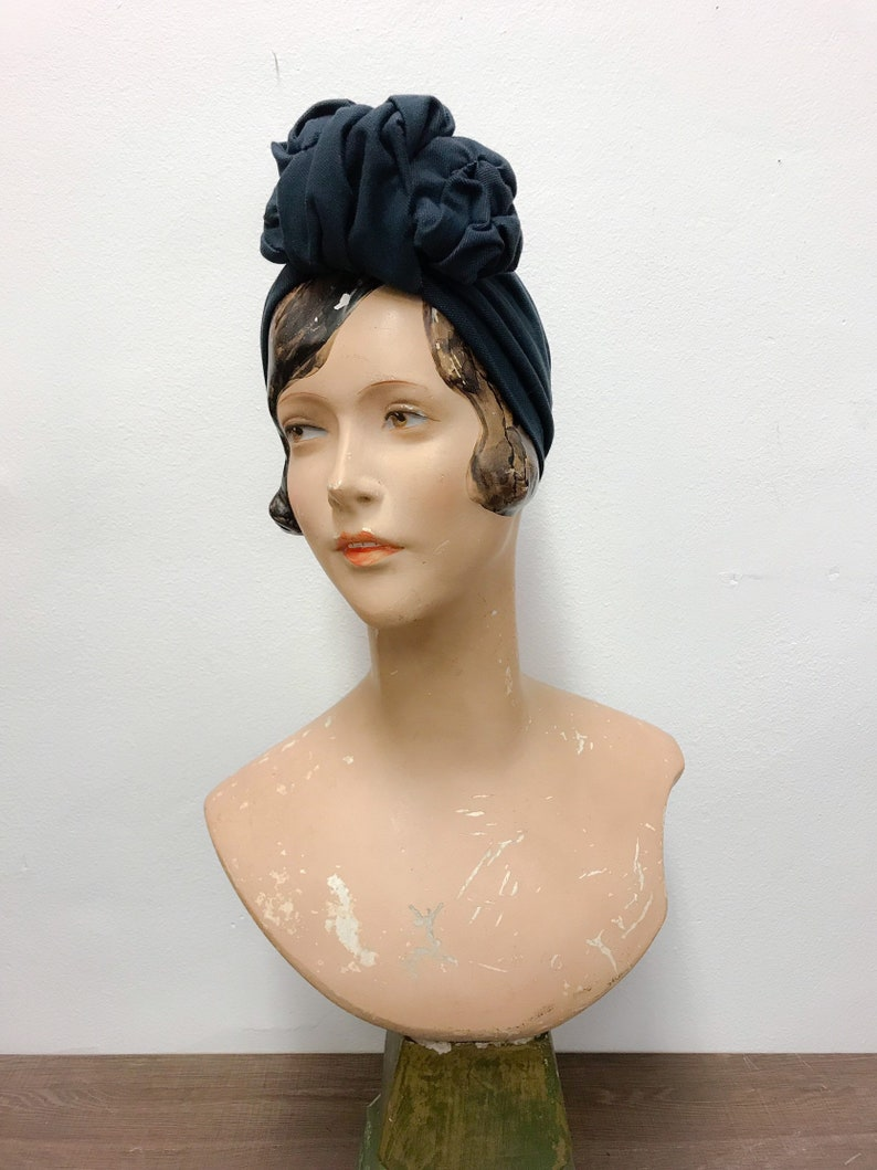 590f792a5255d Headband with scruntchy styled knot, denim look jersey, blue jeans,  pre-tied headwrap, half turban, one-of-akind
